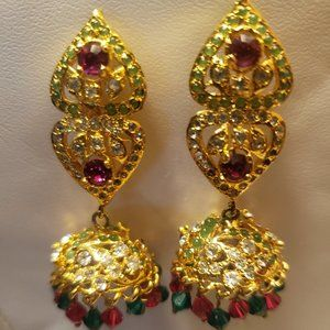 Golden Ruby/Emerald/White Zircon Choker Set